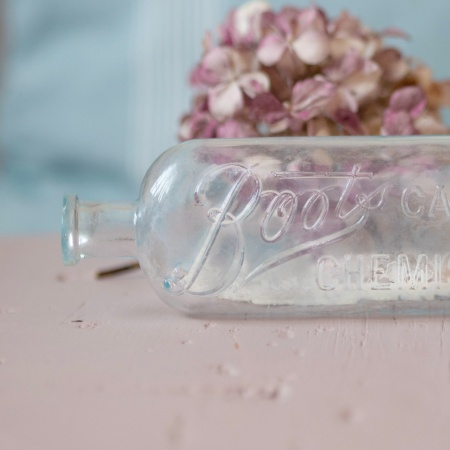 Vintage glass bottle from Boots cash chemist
